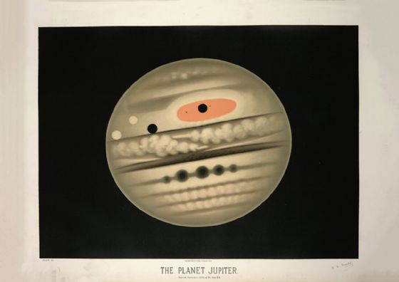Trouvelot, Etienne Leopold: The Planet Jupiter. (The Trouvelot Astronomical Drawings, 1882) Space Print/Poster. Sizes: A1/A2/A3/A4 (0099)